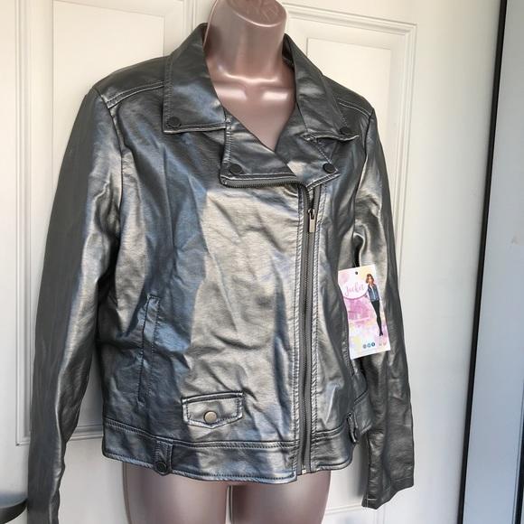d272f901a7a14d ALMOST FAMOUS Moto jacket metallic silver L